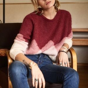Sezane Leopold mohair blend diamond ombré sweater